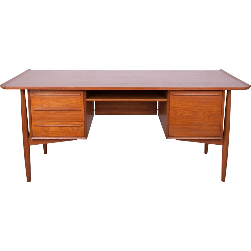 Vintage teak desk by Arne Vodder for H.P. Hansen, Denmark 1960