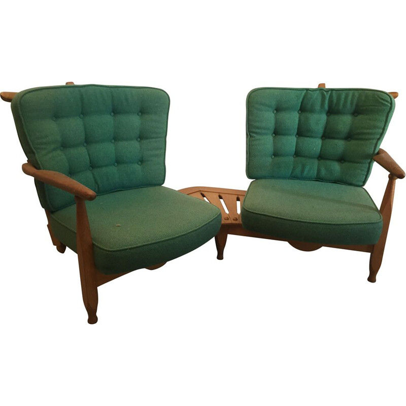 Vintage two seater sofa by Robert Guillerme and Jacques Chambron