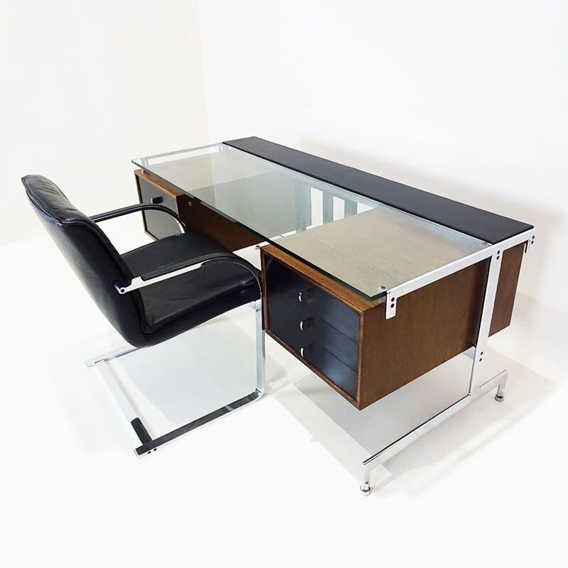 Vintage desk with matching chair by Preben Fabricius and Jørgen Kastholm 1960s