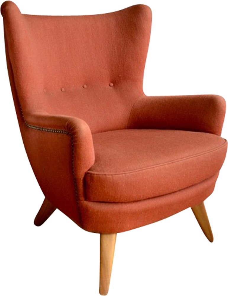 Armchair In Orange Woolen Fabric 1940s Previous Next