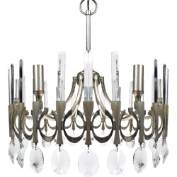 Italian chandelier in brushed metal, Gaetano SCIOLARI - 1970s