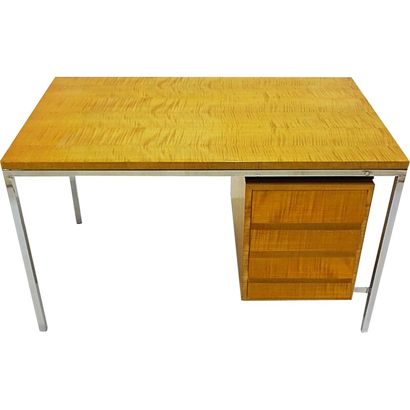 Vintage polished steel and Tiger Stripe maple desk to Florence Knoll 1940s