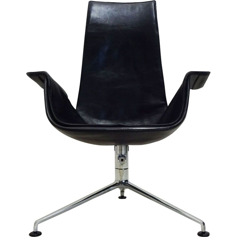 Vintage tulip chair in black leather tilting by Preben Fabricius and Jorgen Kastholm 1964s
