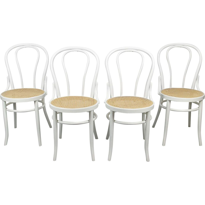 Set of 4 vintage White Chairs by Michael Thonet