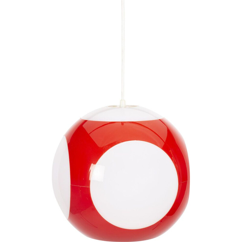 Vintage Red UFO ball pendant Lamp by Luigi Colani for Massive 1960s