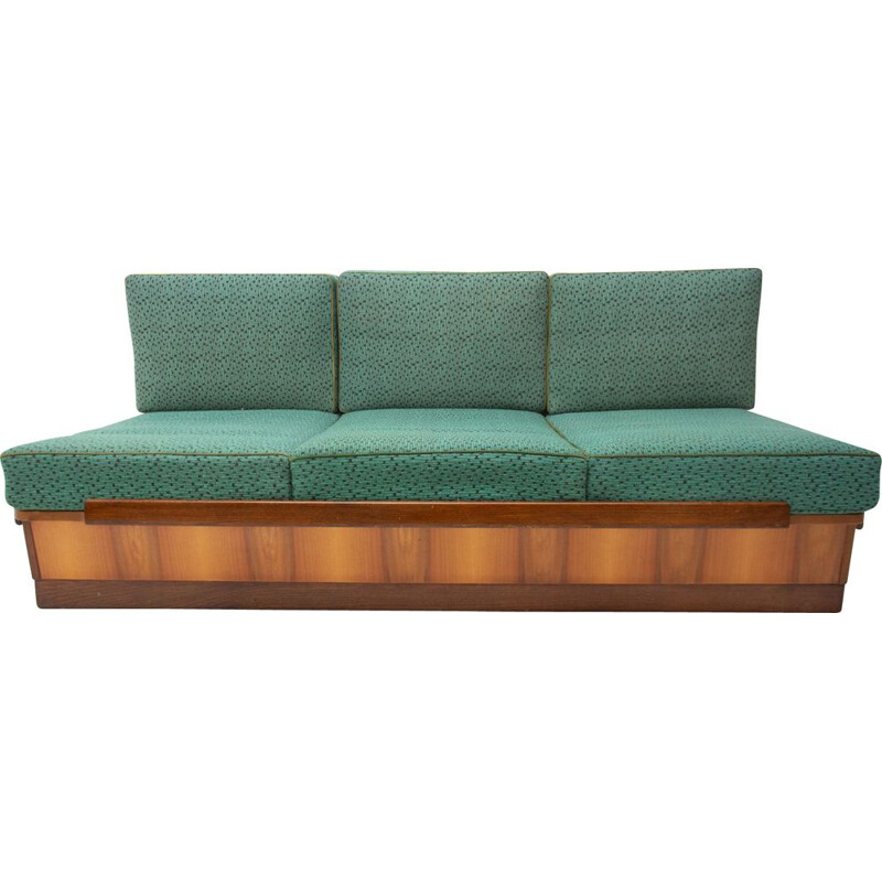 Mid century sofabed in walnut by Jindrich Halabala for UP Zavody 1950s