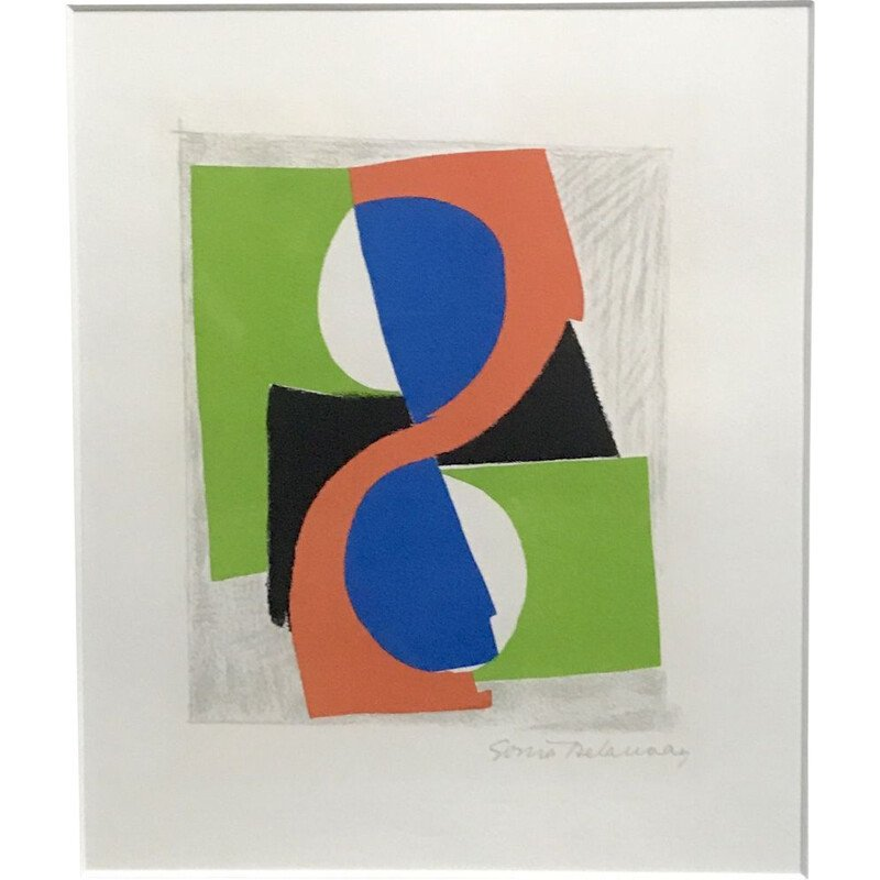 Vintage lithograph in colours of Sonia Delaunay 1970s
