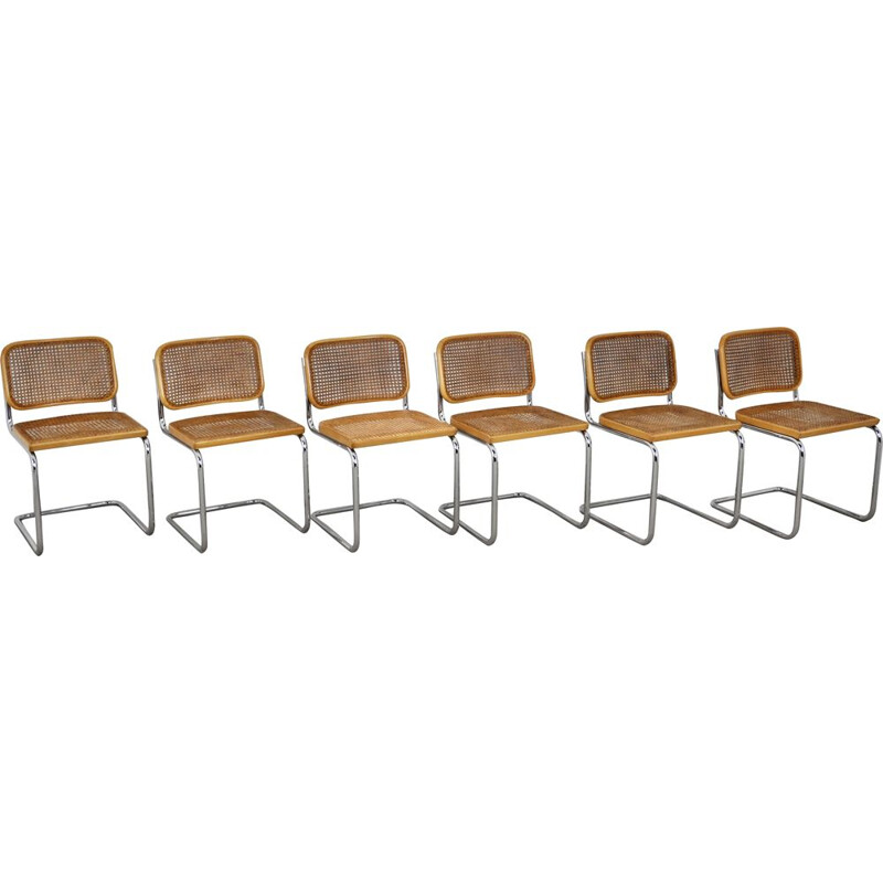 Set of 6 vintage Gavina Dinning chairs by Marcel Breuer 1980s