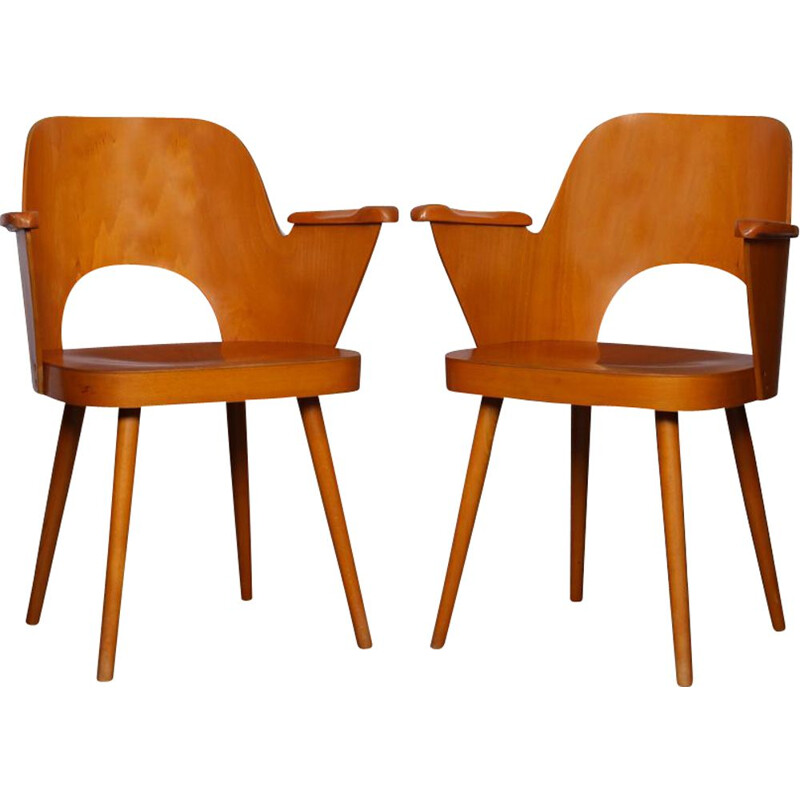 Pair of vintage wooden armchairs by Lubomir Hofmann for Ton 1960s
