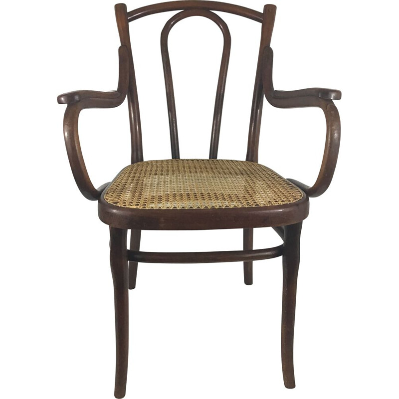 Vintage Thonet bentwood and rattan cane armchair