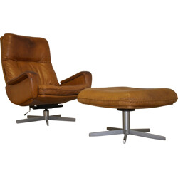 """S-231"" De Sede armchair and foot rest in brown beige leather - 1960s"