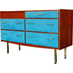 Chest of drawers or dressing table in teak, brass and Alcantara fabric, Roger LANDAULT - 1960s