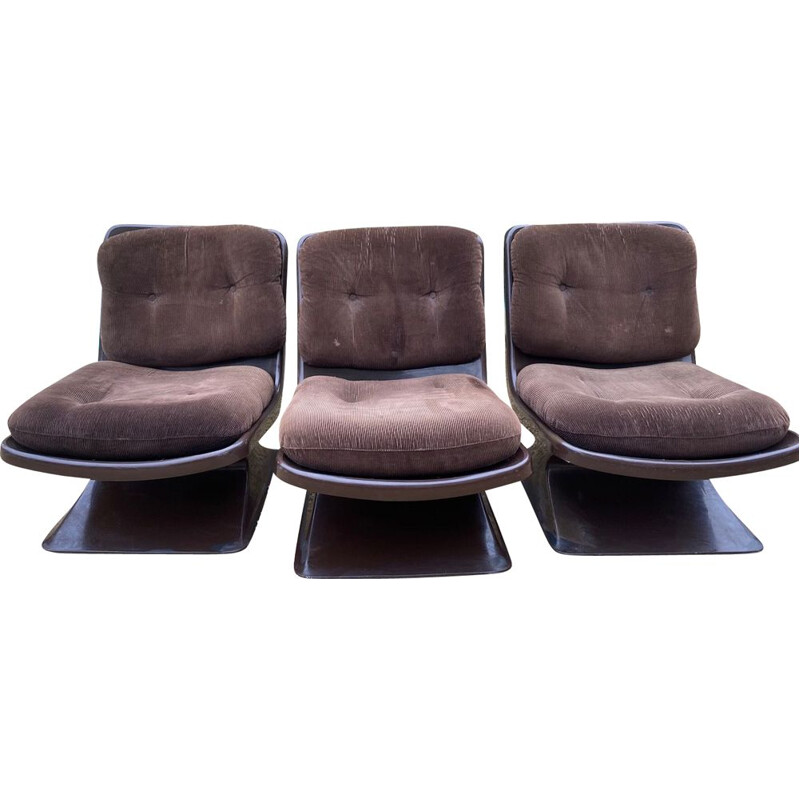 Set of 3 vintage Grosfillex Albert Jacob Fireside chairs 1970s