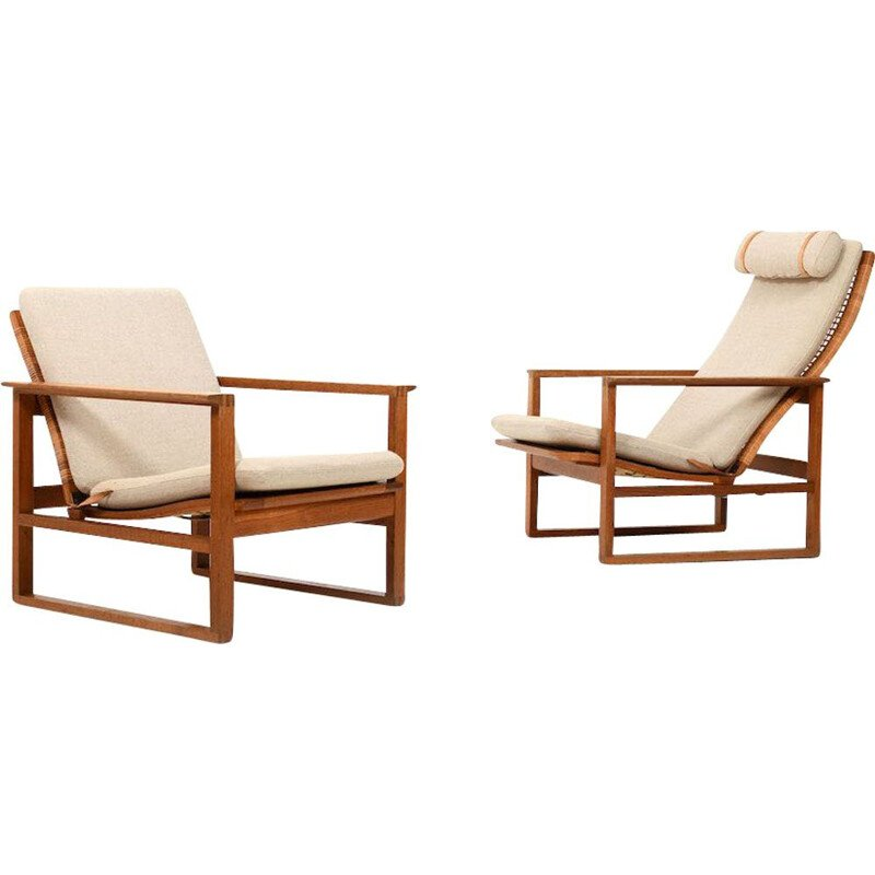 Pair of vintage Borge Mogensen Sled Chairs 1956s
