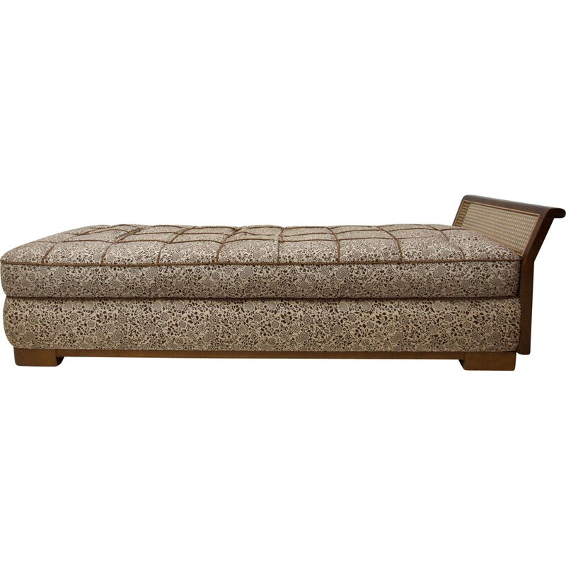 Vintage Art Deco divan bed in Walnut Bohemia 1930s