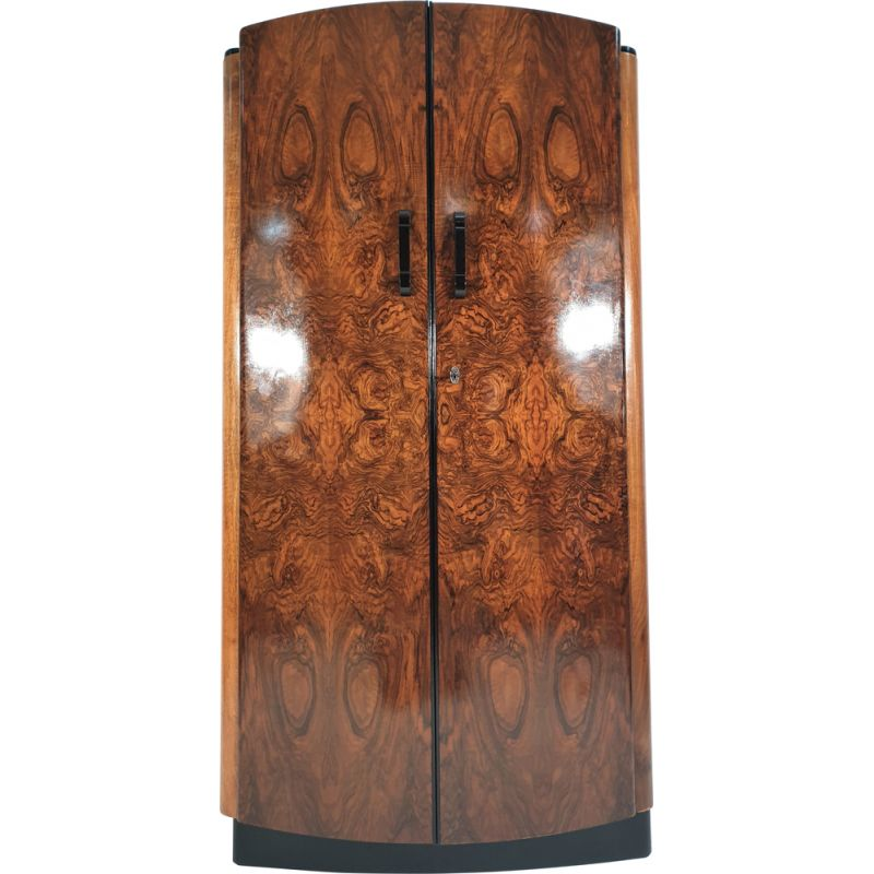 Vintage Walnut Veneer Wardrobe by Jindřich Halabala for UP Závody 1950s