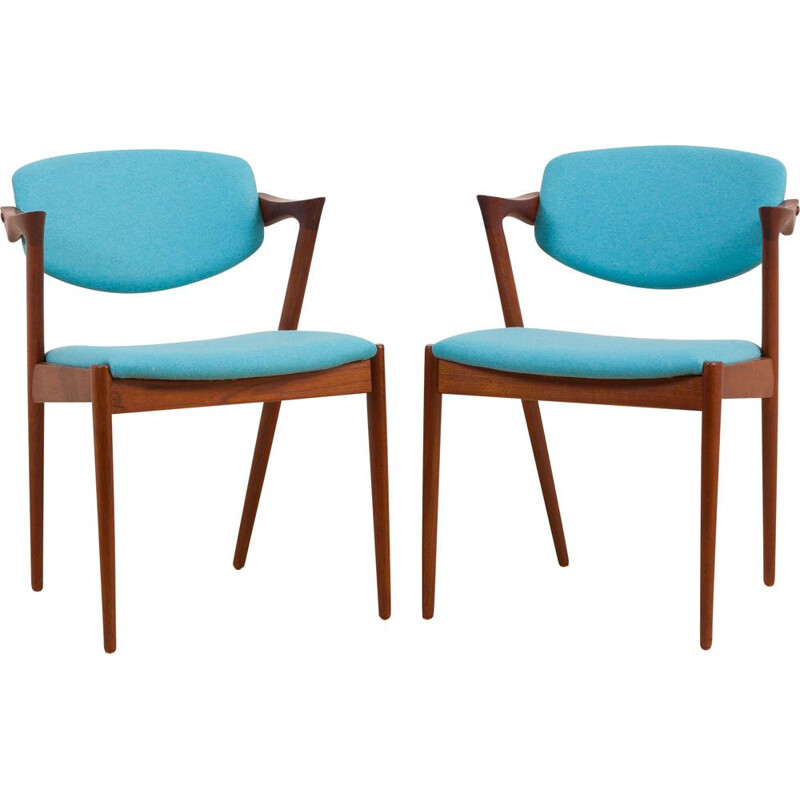 Pair of vintage teak Kai Kristiansen chairs 1960s