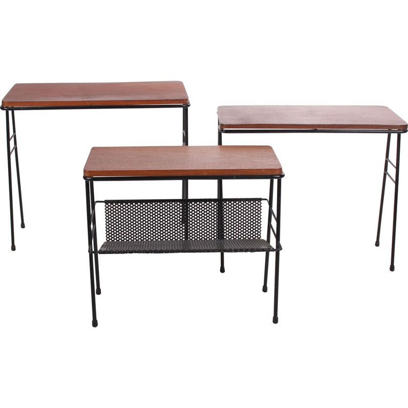 Vintage Side table set with magazine rack by Cees Braakman 1960s