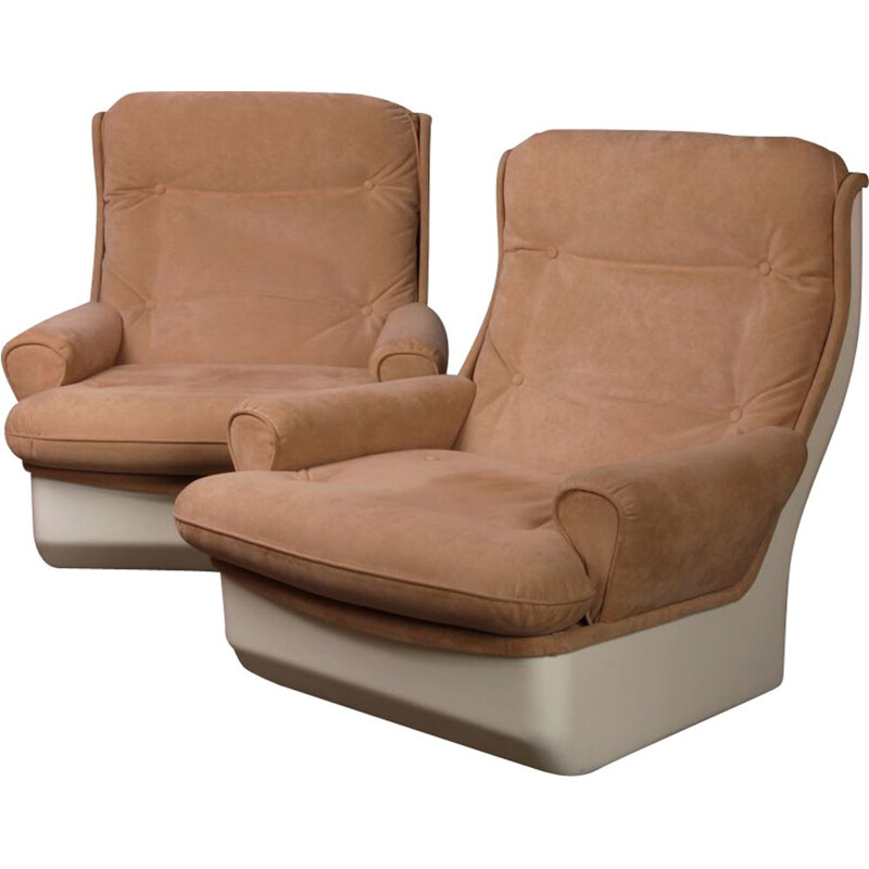 Pair of vintag Orchidée armchairs by Michel Cadestin for Airborne 1970s