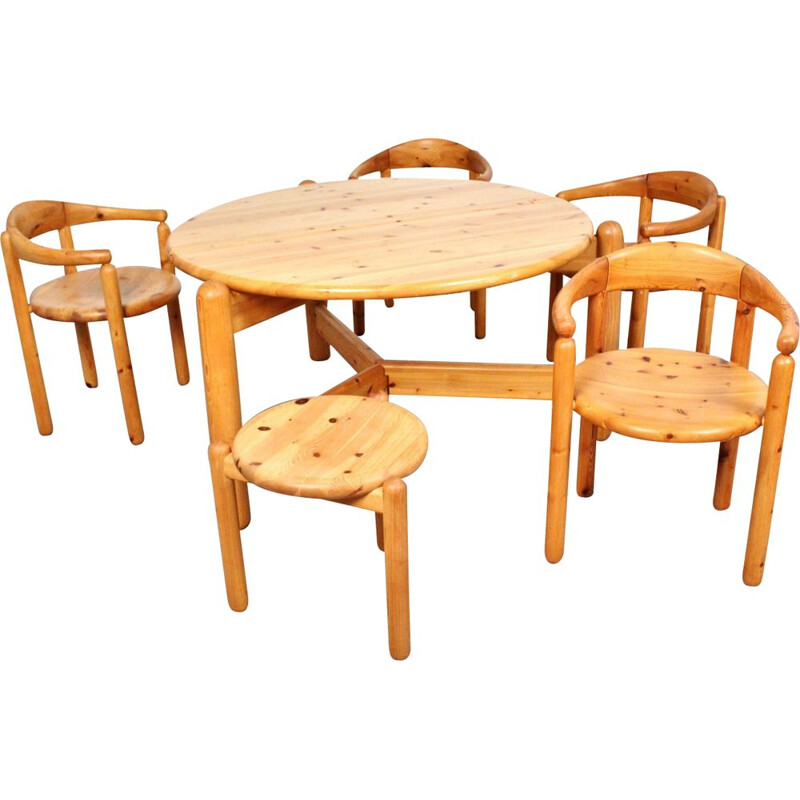 Vintage solid pine dining room set 1960s