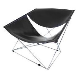 """Artifort Hollande """"Butterfly"""" chair in black leather and metal, Pierre PAULIN - 1970s"""