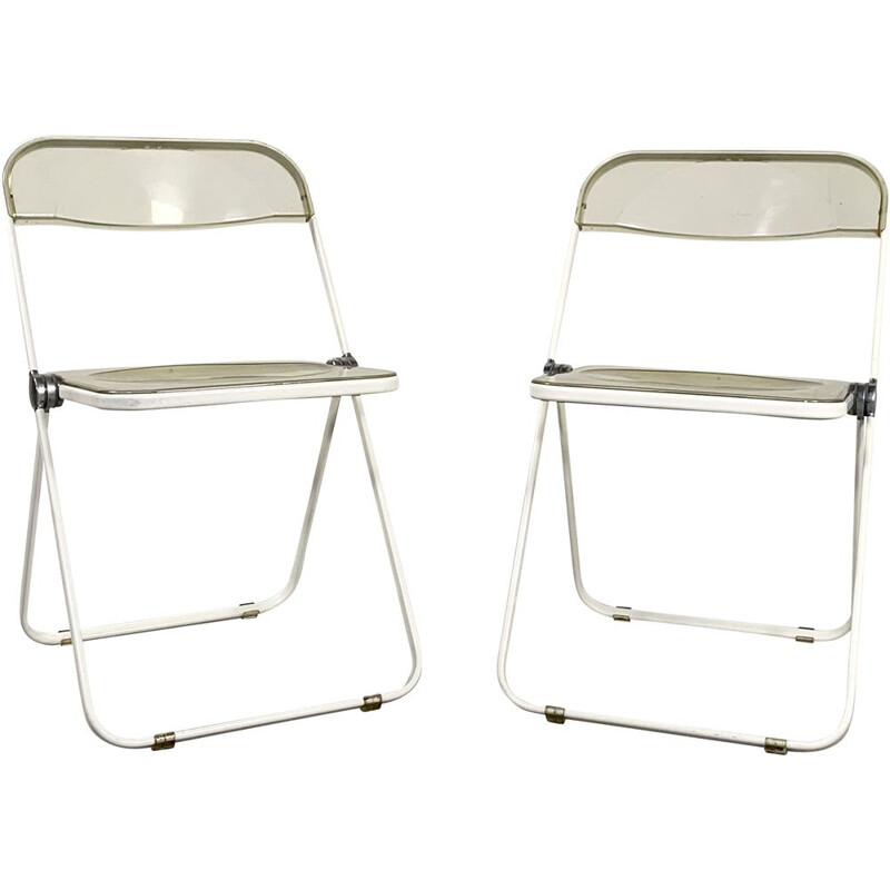 Pair of vintage White & Lucite Plia folding chairs by Giancarlo Piretti for Castelli 1960s