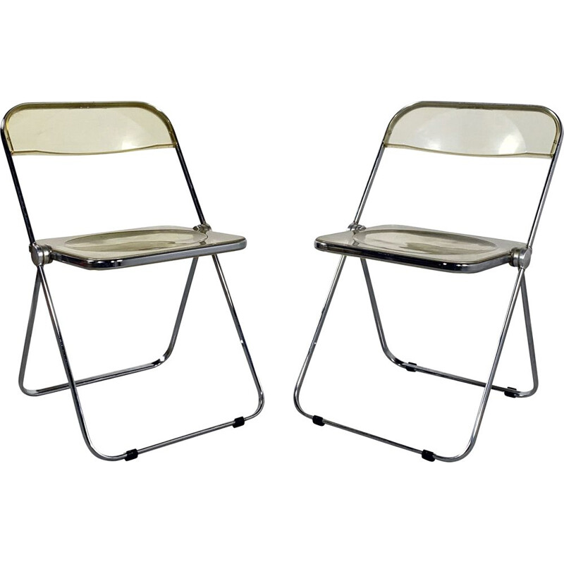 Pair of vintage Lucite Plia folding chairs by Giancarlo Piretti for Castelli 1960s
