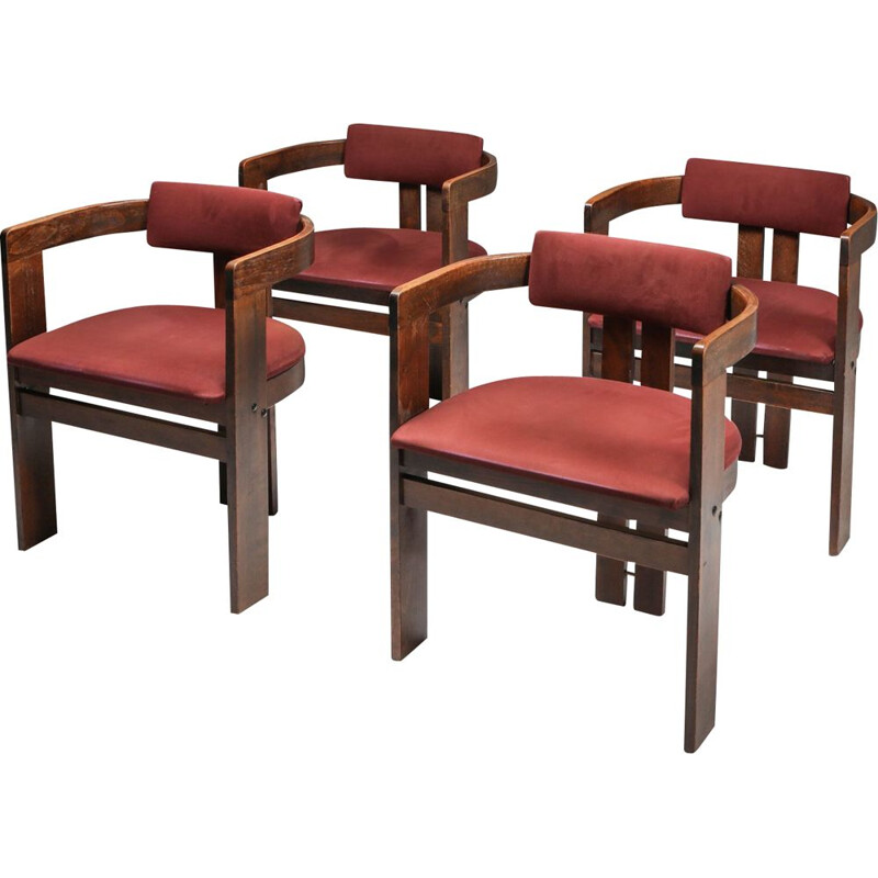Set of 4 vintage Pigreco Armchairs Bentwood Frames by Afra & Tobia Scarpa 1960s