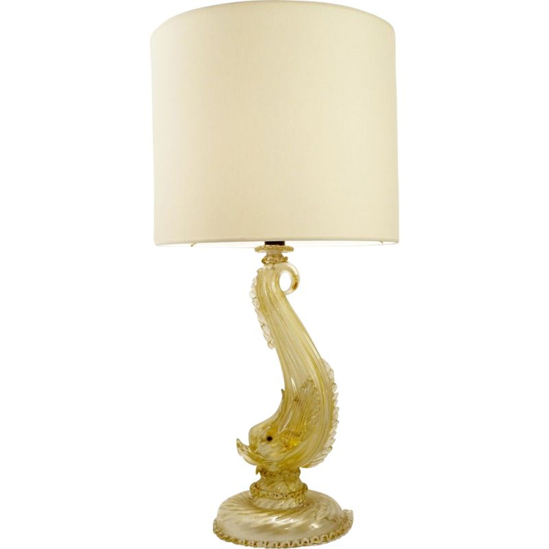 Vintage glass Dauphin table lamp Gilded Murano glass 1950s