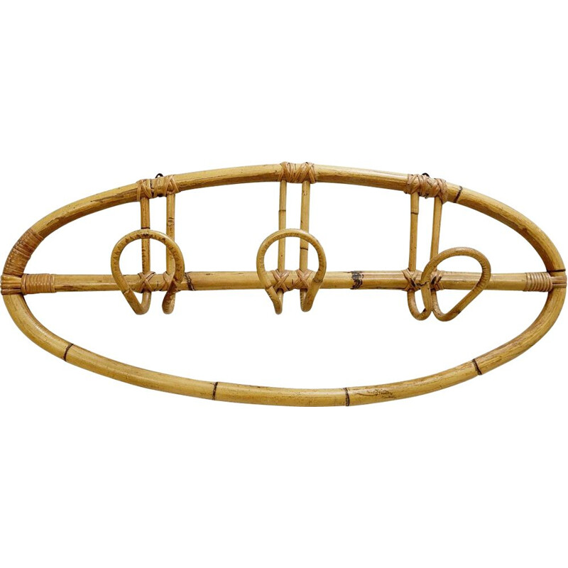 Vintage oval coat rack in Rattan 1960s