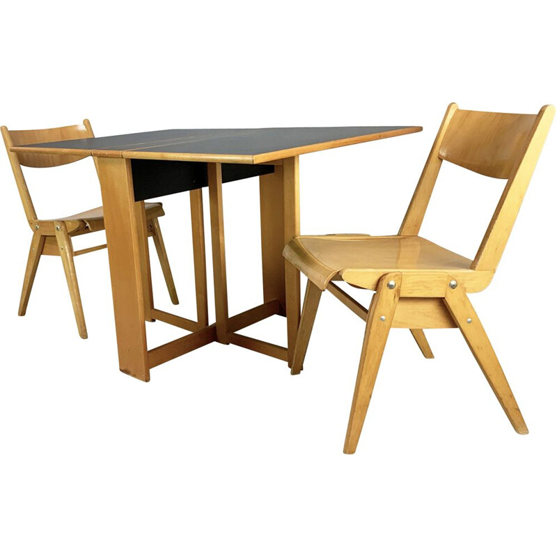 Mid century Habitat dining table and 2 Casala chairs 1980s