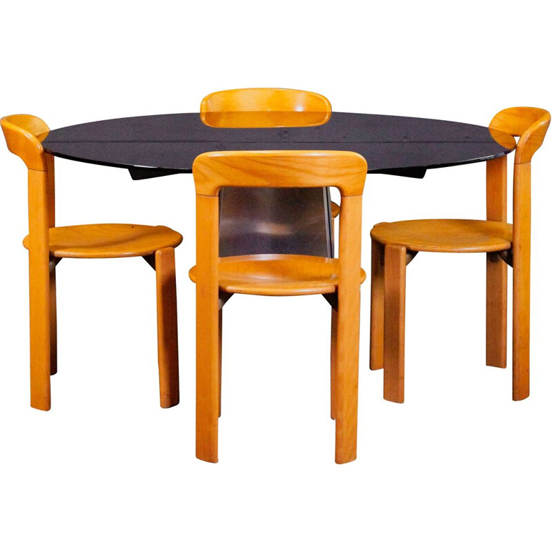 Vintage Luigi Saccardo Table with 4 Bruno Rey Chairs 1970s