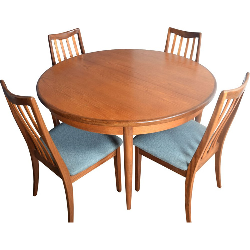 Vintage Teak G Plan Round Table & Four Chairs By Victor Wilkins 1960s
