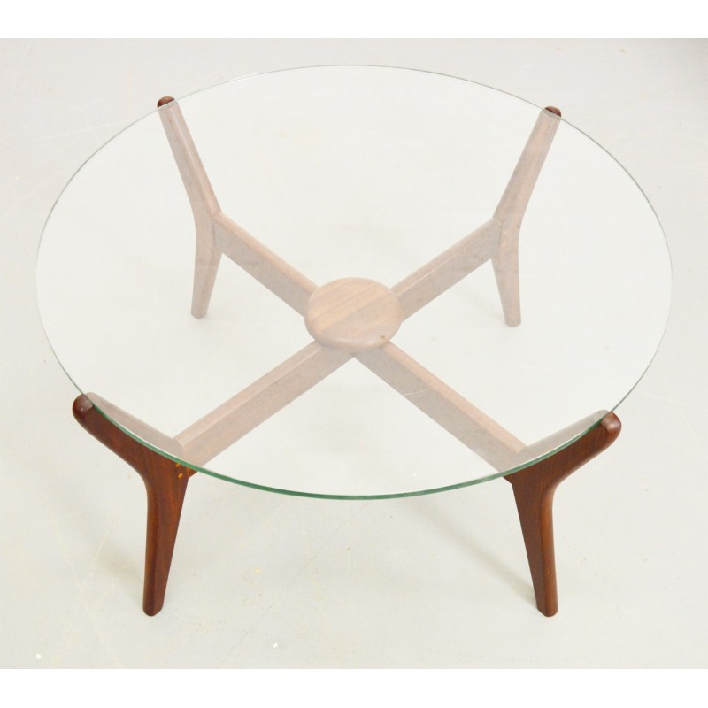 Mid-Century Danish teak glass top coffee table - 1960s ...