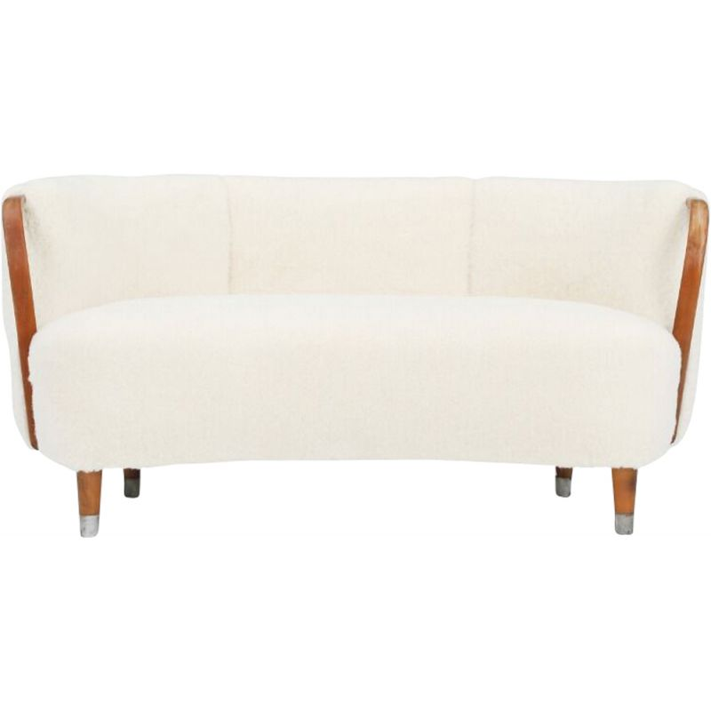 Vintage sofa covered in sheepskin 1950s