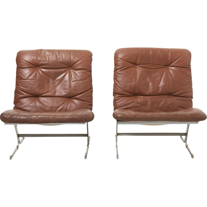 Pair of vintage Easy Chairs in Leather 1960s