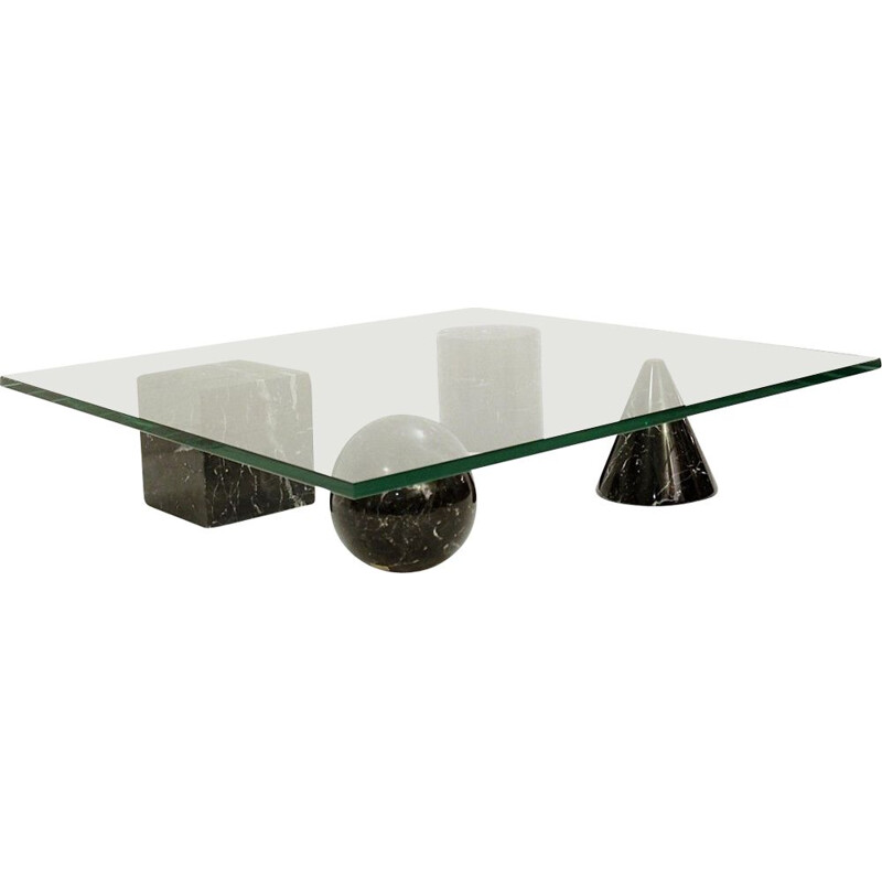 Vintage Massimo And Lella Vignelli Coffee Table In Black Marble And Glass