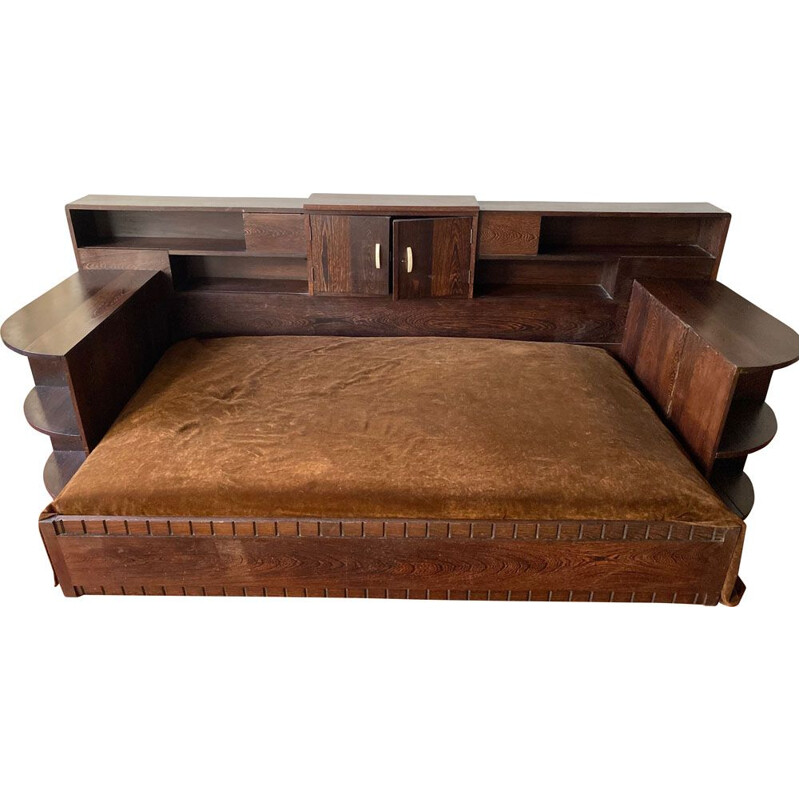 Vintage Art deco palm wood resting bed 1930s
