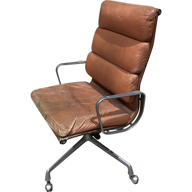 Vintage leather and cast aluminium armchair by Charles and Ray Eames 1960s