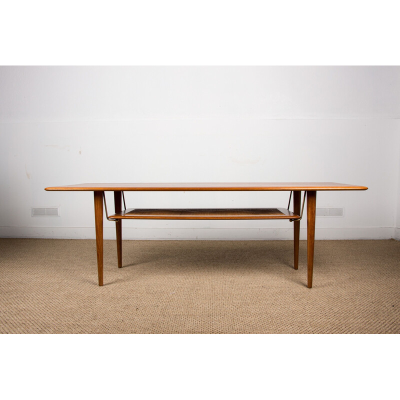 Vintage coffee table 2 levels in Oak and wickerwork model FD 516 by Peter Hvidt and Orla Moolgard for France & Son Danoise 1956