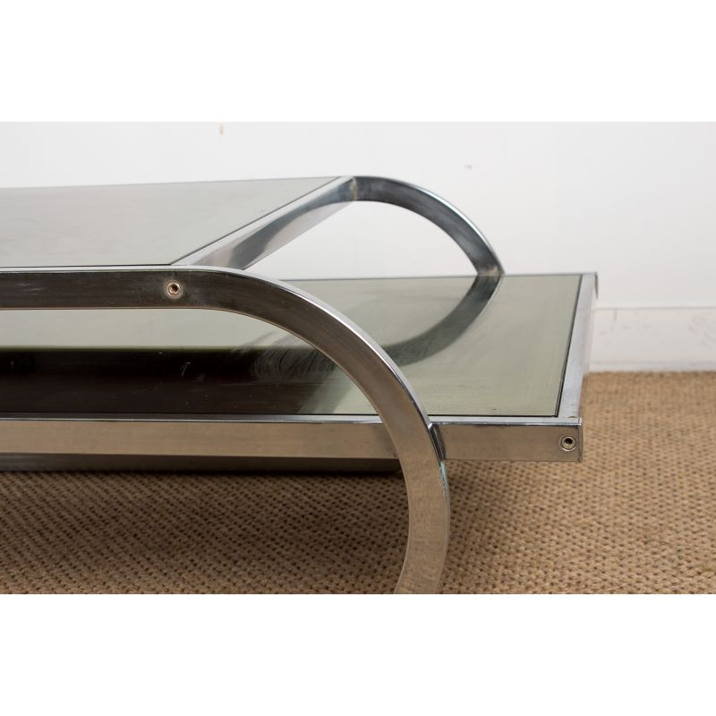 Large Vintage Coffee Table With Two Levels In Colored Glass And Aluminium 1970s Design Market