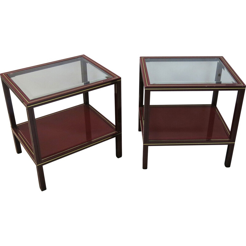 Pair of two side tables in red bordeaux, Pierre VANDEL - 1970s