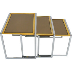"Set of 3 ""Nesting"" Italian side table in glass, Willy RIZZO - 1970s"