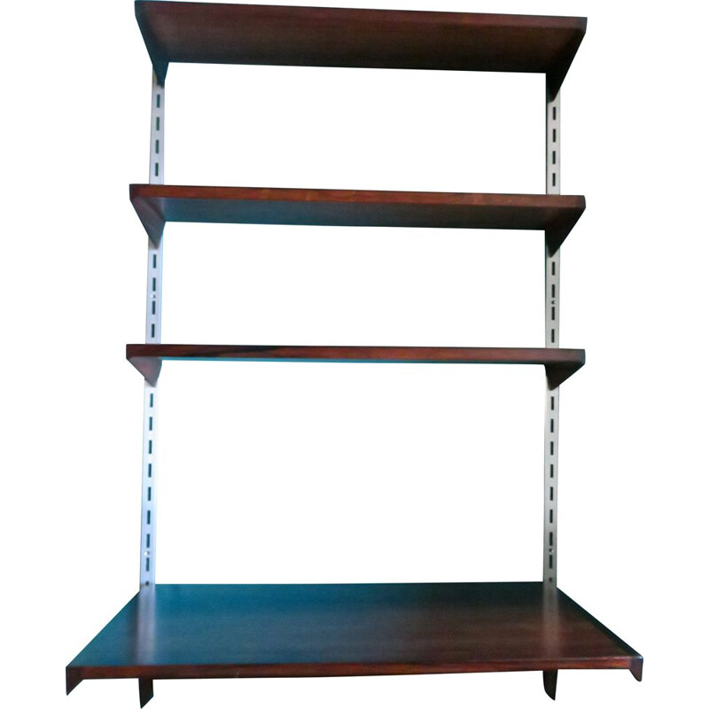 Vintage wall shelving system and pallissander writing desk by Kaï Kristiansen Denmark 1960s