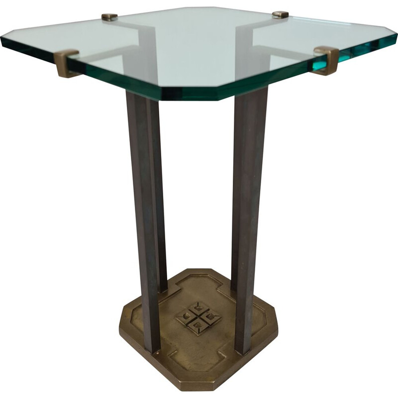 Vintage Brutalist brass & glass side table by Peter Ghyczy for Ghyczy 1970s