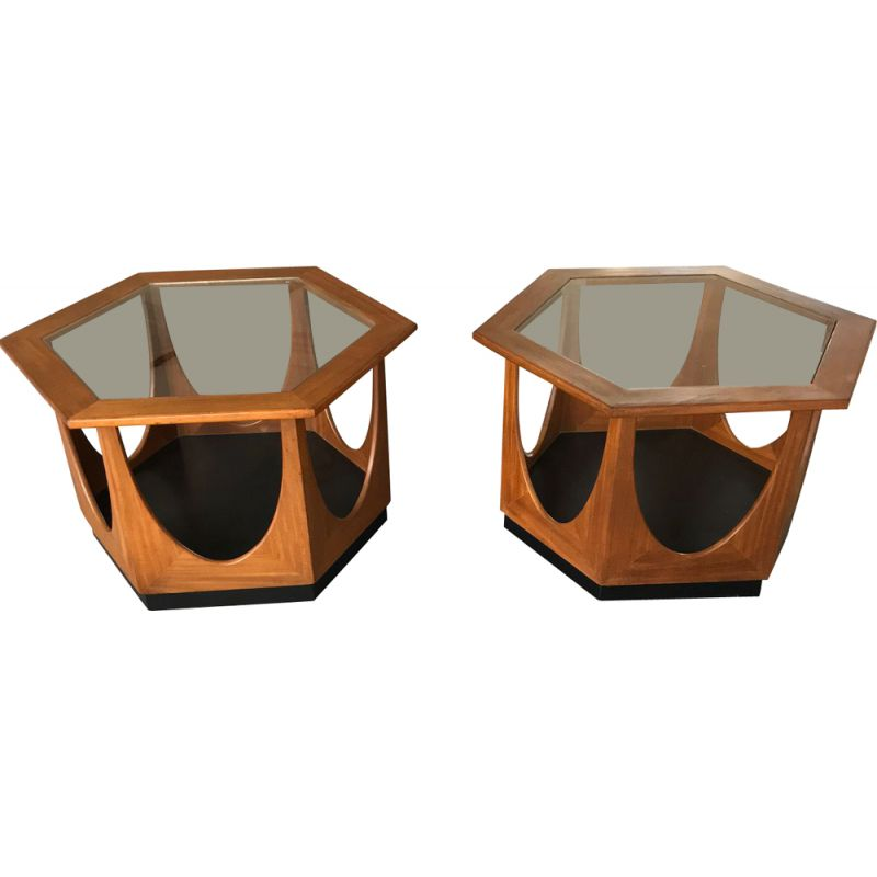 Pair of vintage hexagonal coffee tables by Victor Wilkens for G-plan