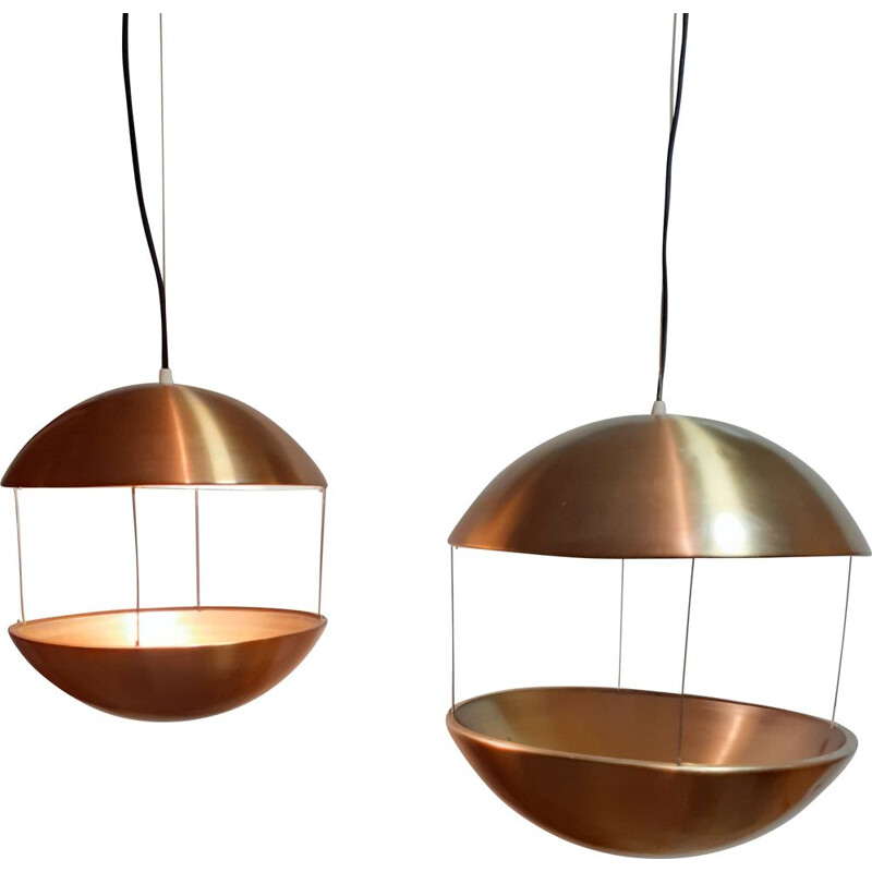 Pair of vintage copper Poul Cadovius suspensions for HF Belysning 1960s