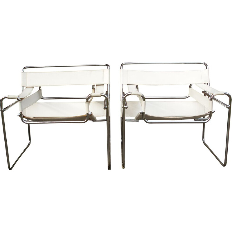 Pair of vintage white Wassily armchairs by M.Breuer