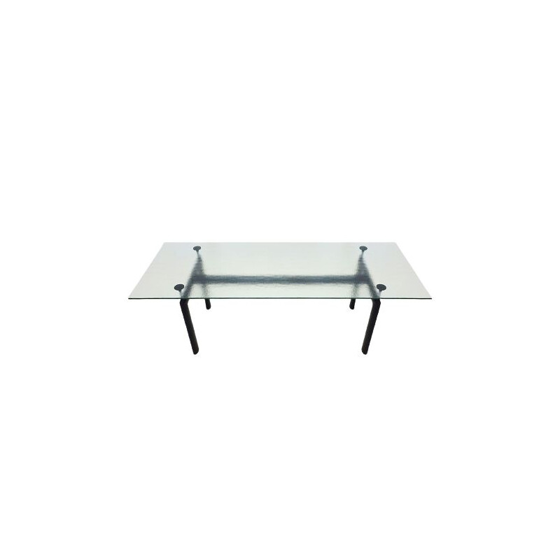 Original vintage Cassina Le Corbusier designed LC6 6-8 seat dining table with textured crystal glass top
