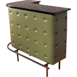 Corner bar in olive green leatherette and metal, Jacques ADNET - 1950s